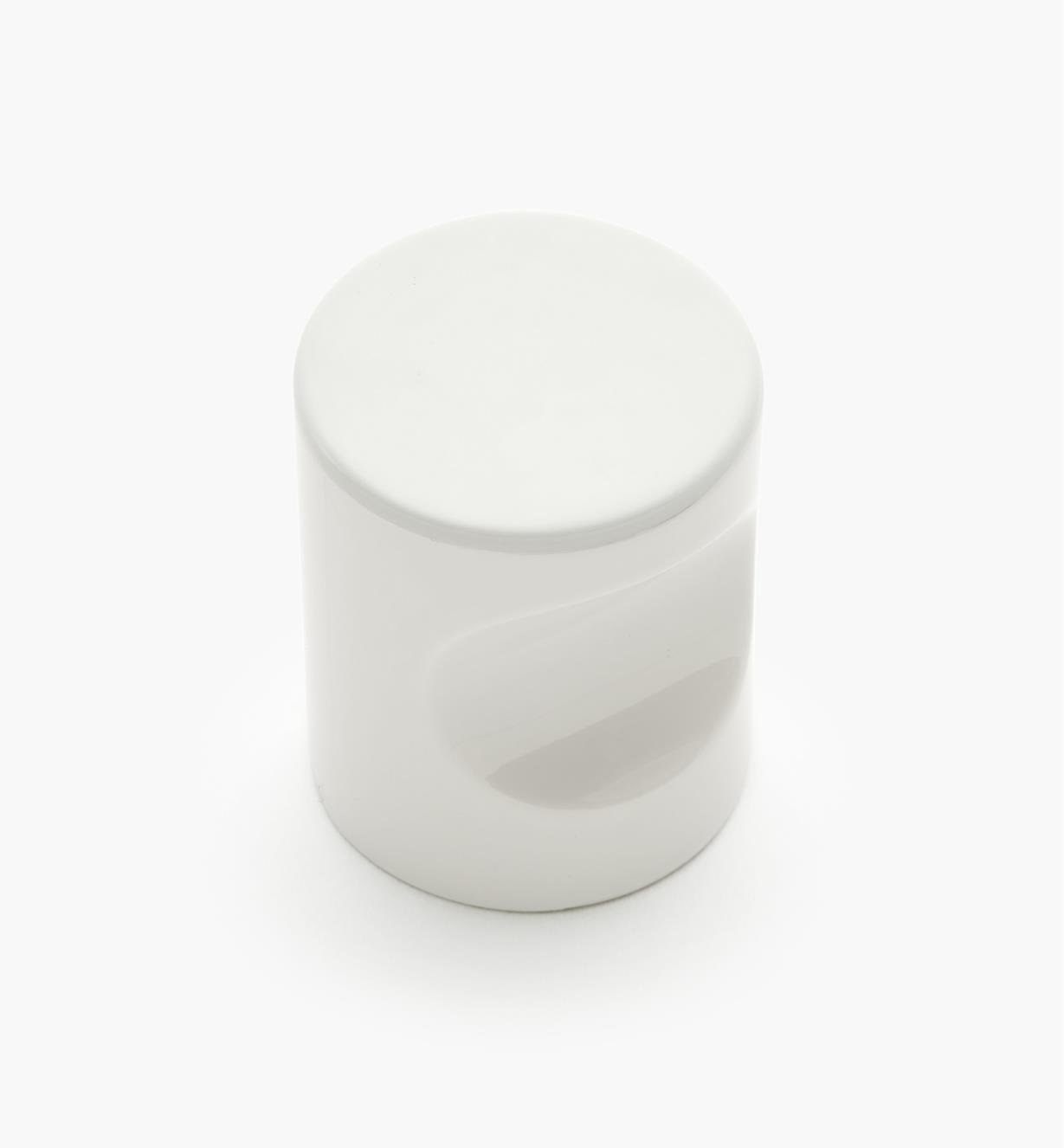 "01W4532 - 23mm x 1 11/16"" White Notched Pull/Knob"