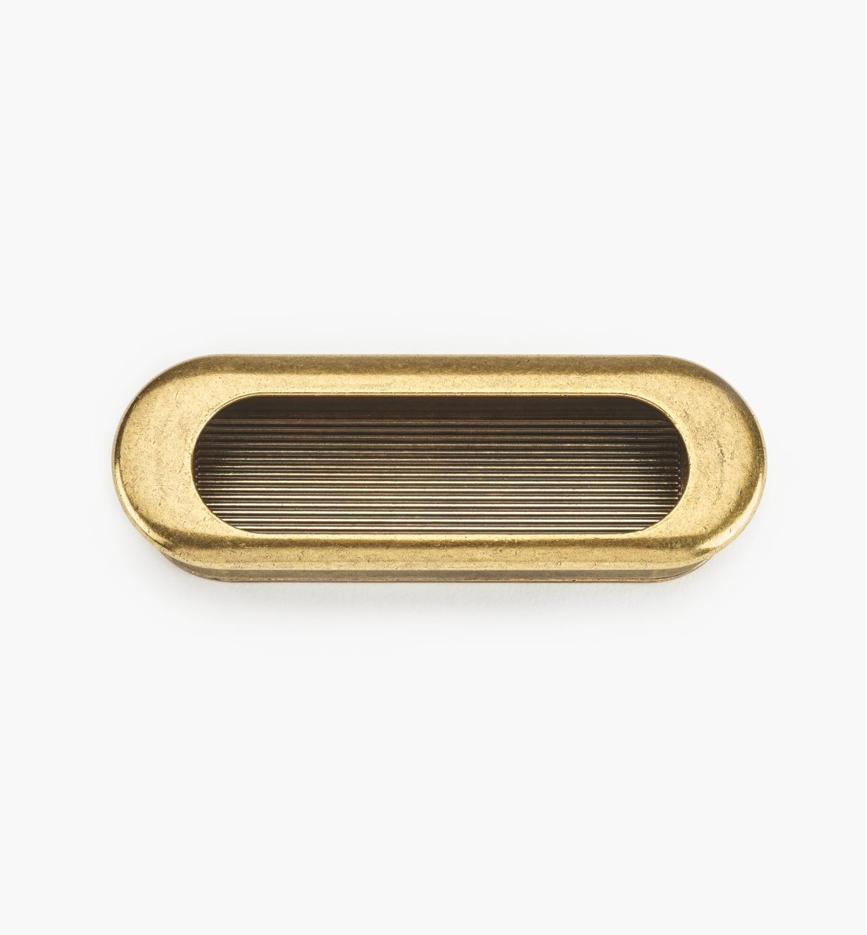 01X4202 - Poignée encastrée ovale, fini bronze bruni, 90 mm x 31 mm