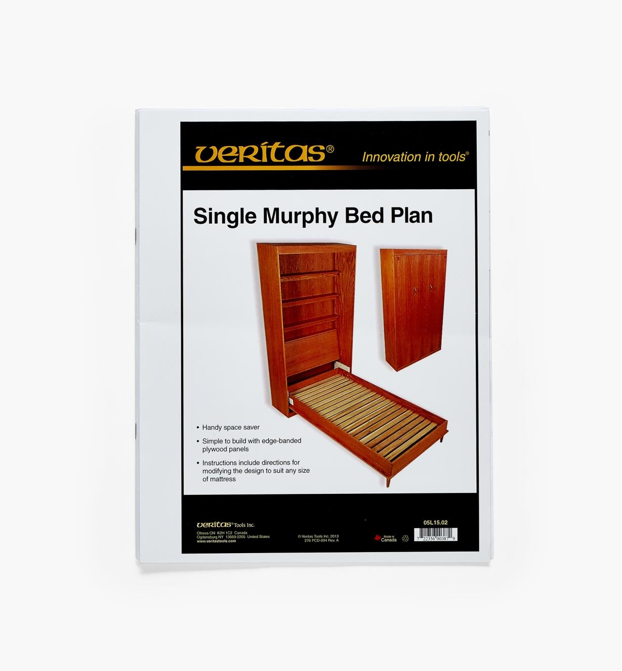 05L1502 - Murphy Bed Plan, Single