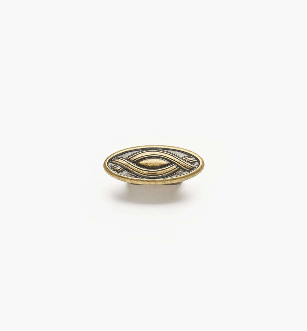 01A2963 - Bouton rubané ovale de 2 7/8 po, fini laiton antique (32 mm)