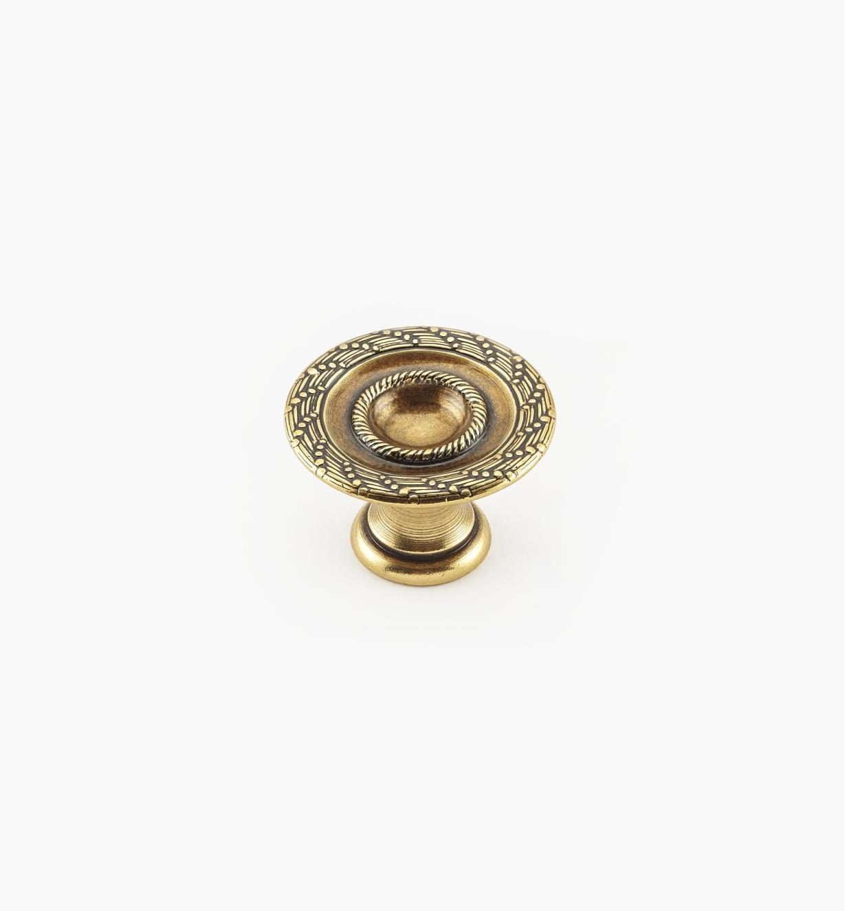 01A9130 - 30mm x 19mm Rope/Reed Burnished Bronze Knob