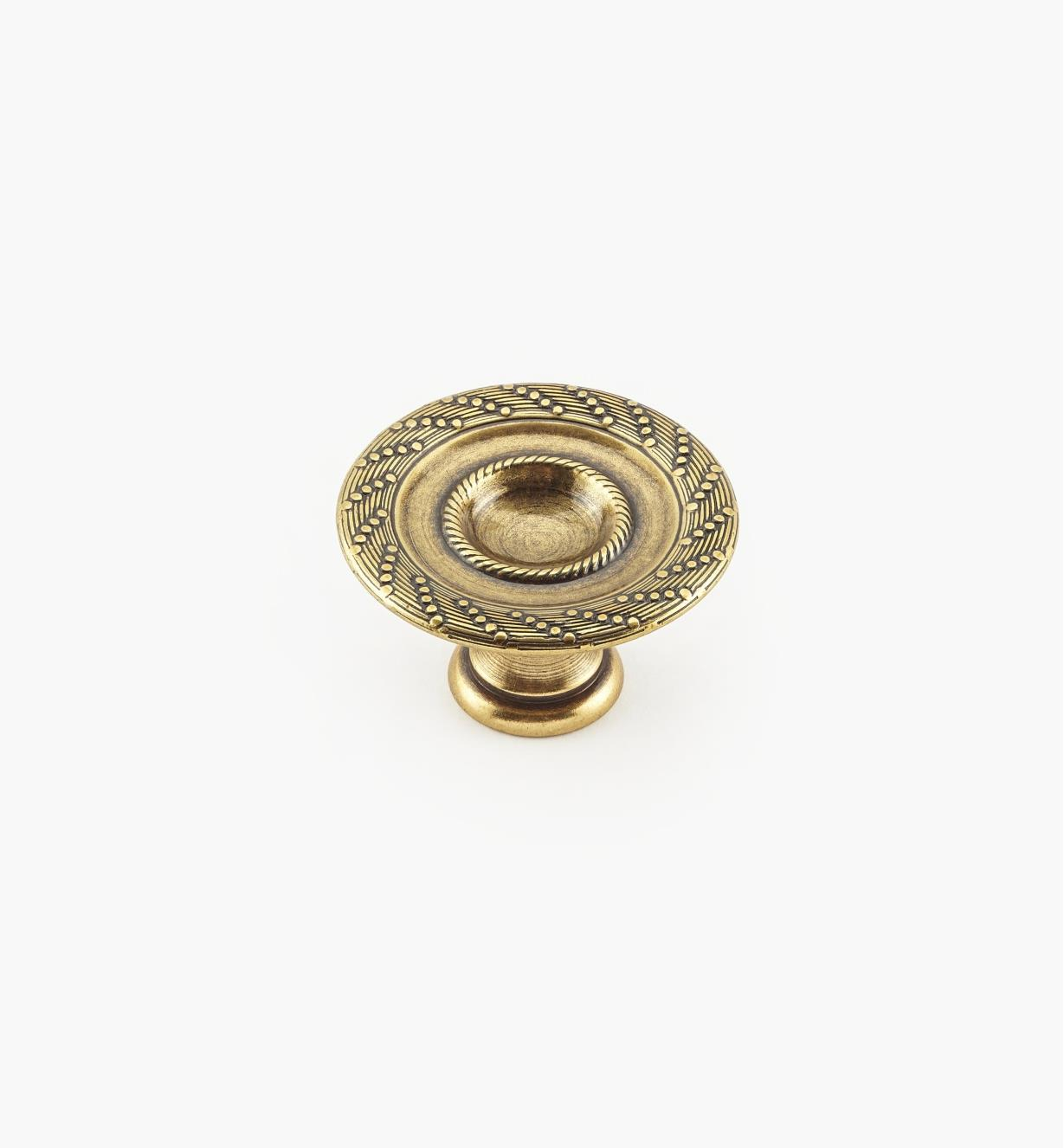 01A9135 - 35mm x 20mm Rope/Reed Burnished Bronze Knob