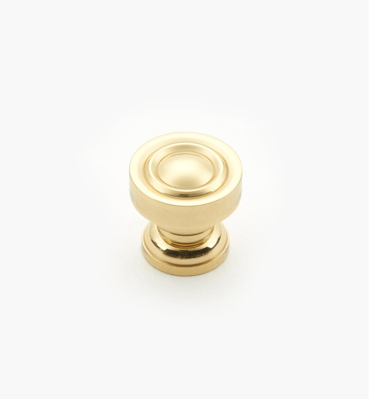 "01W1311 - 9/16"" x 9/16"" Polished Brass Knob"