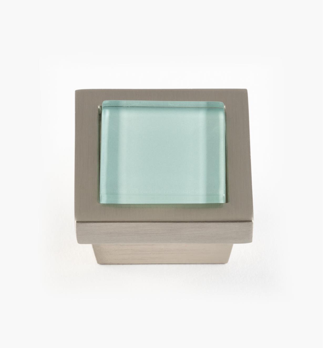 01W5132 - Bouton carré Spa, turquoise, fini nickel brossé, 1 3/8 po