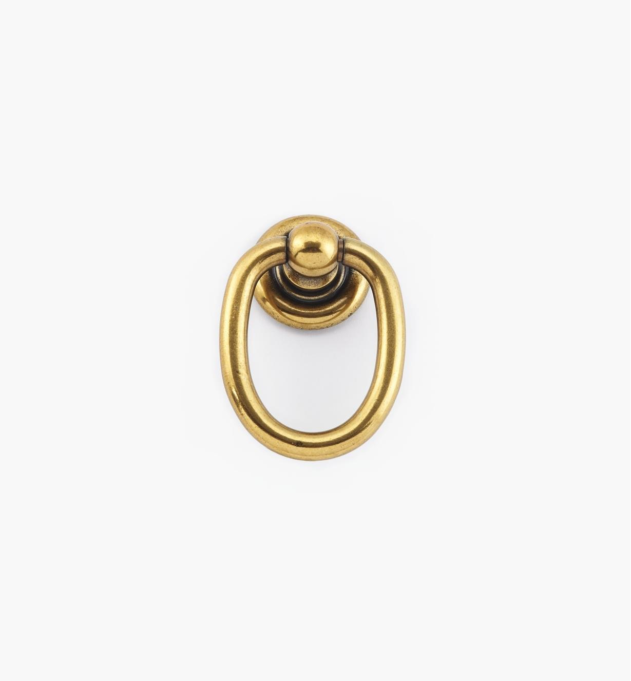 01X4068 - Poignée à anneau sur rosace, fini bronze bruni