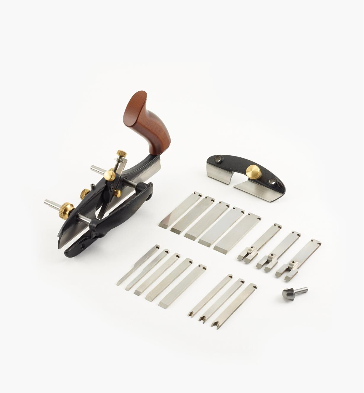Small plow plane includes 11 straight blades, three tongue-cutting blades, three beading blades and a wide-blade conversion kit.