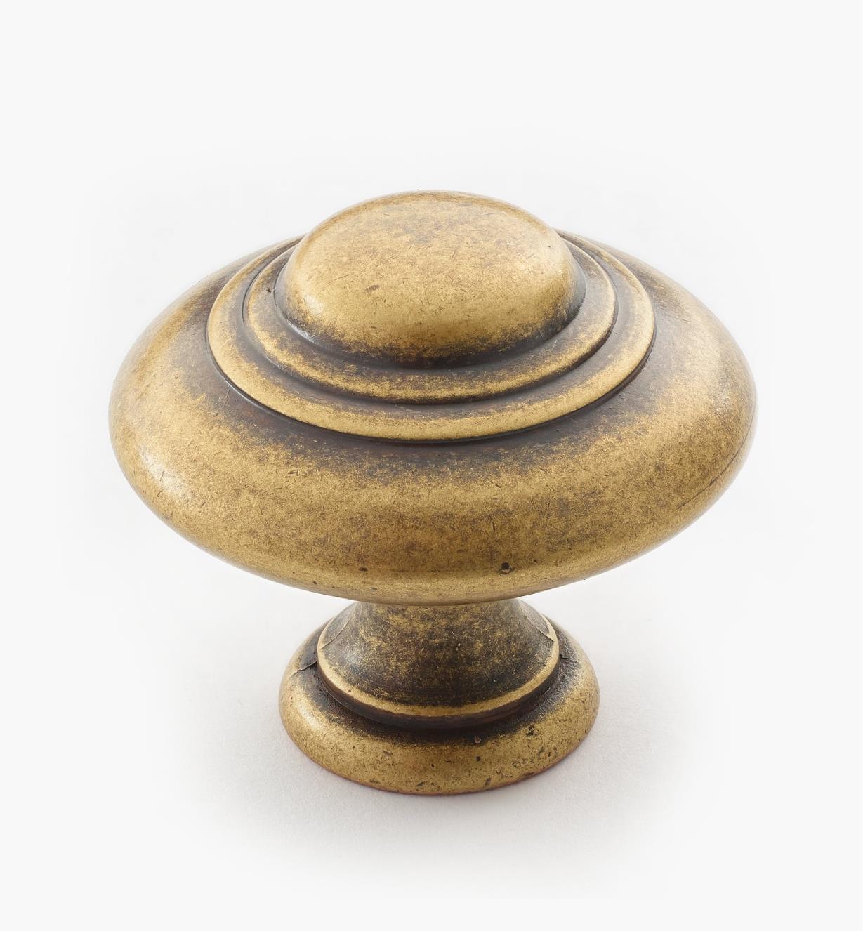01A3936 - Bouton de 35 mm x 31 mm, quincaillerie à trois perles, série II, fini laiton antique
