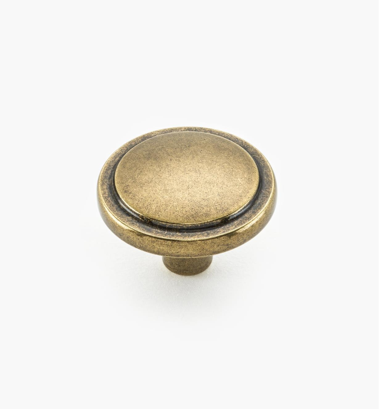"02A3103 - Antique Brass Traditional Knob1 1/4"" x 7/8"""