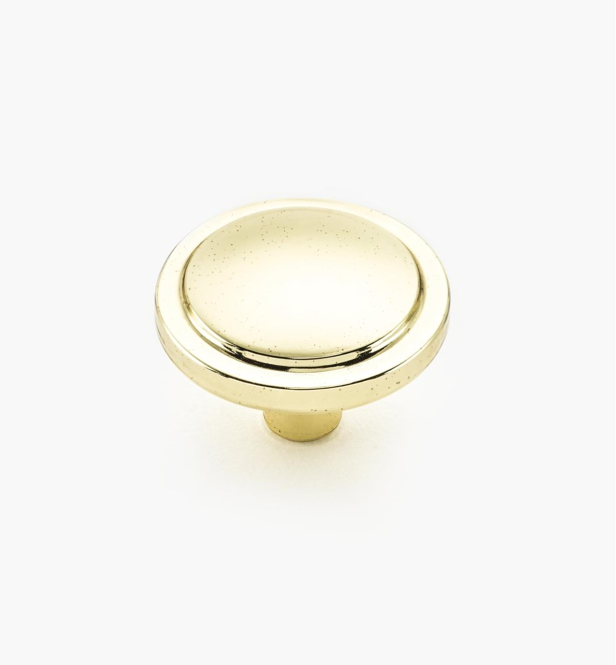 "02A3113 - Bright Brass Traditional Knob1 1/4"" x 7/8"""