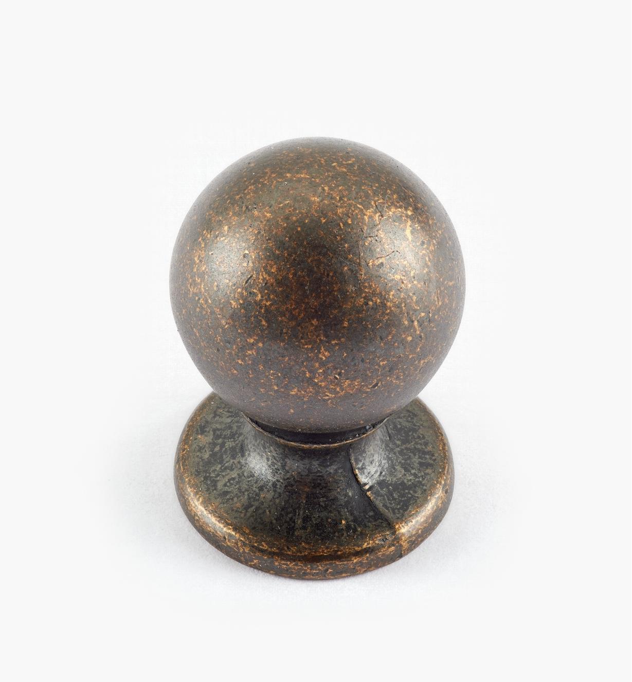 02W3021 - Bouton-boule Vintage de 3/4 po x 1 1/8 po, fini laiton antique