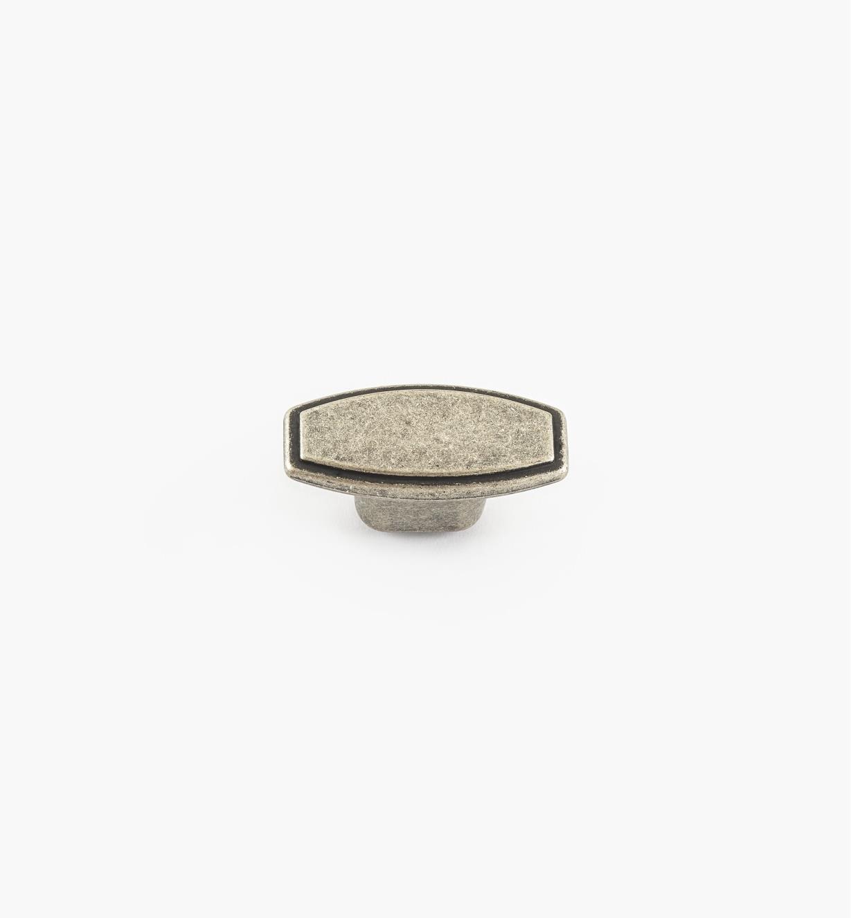 00A7672 - Bouton de 45 mm x 23 mm, série Decco, fini argent ancien