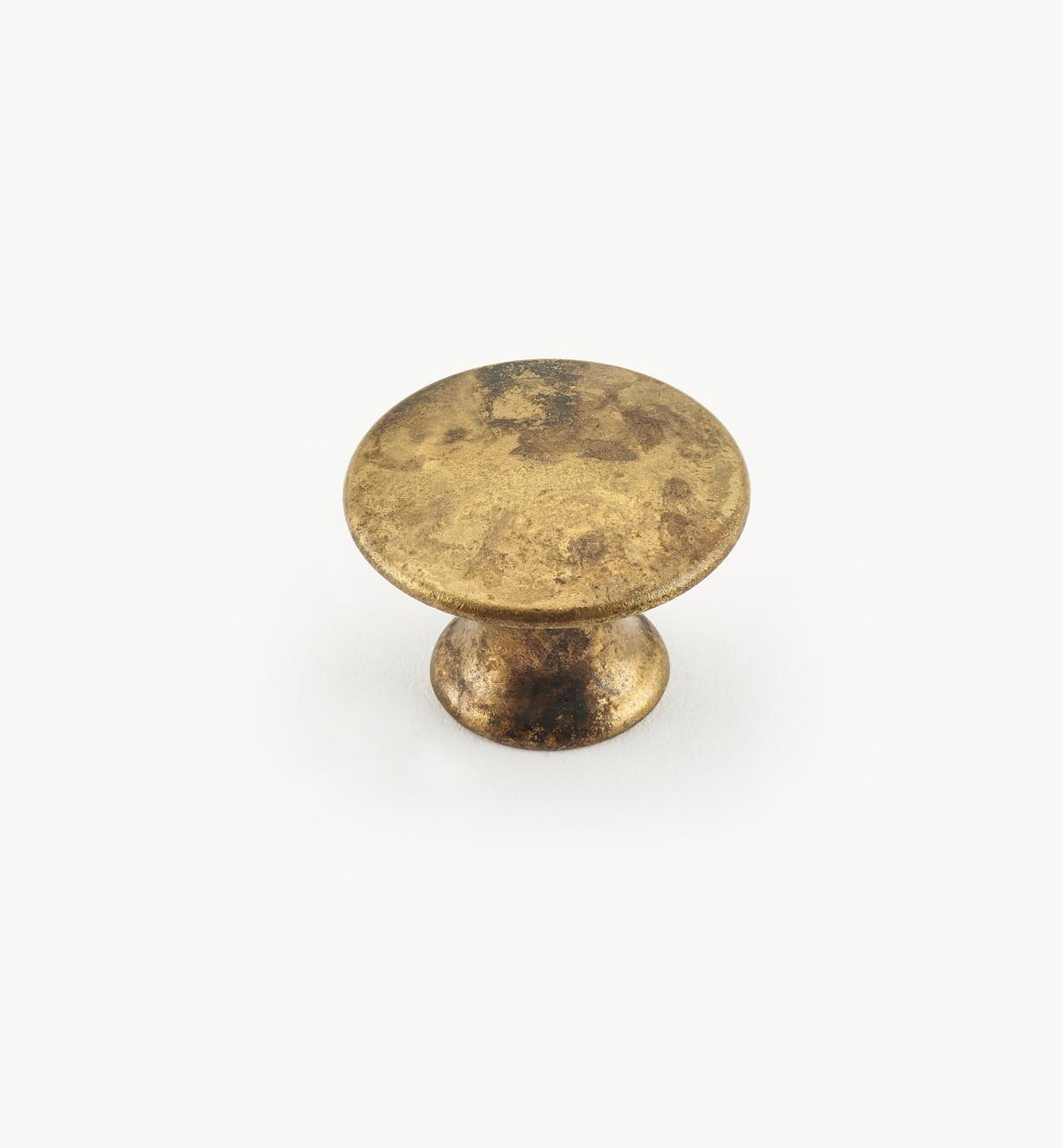 01A0320 - 20mm x 15mmOld Brass Plain Knob