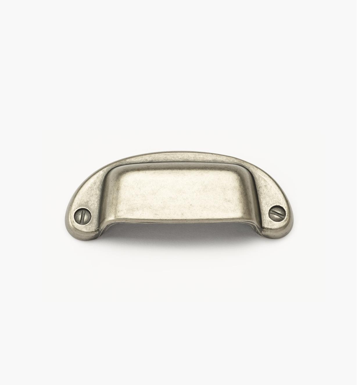 01A5741 - Poignée en coupelle carrée, étain, 3po