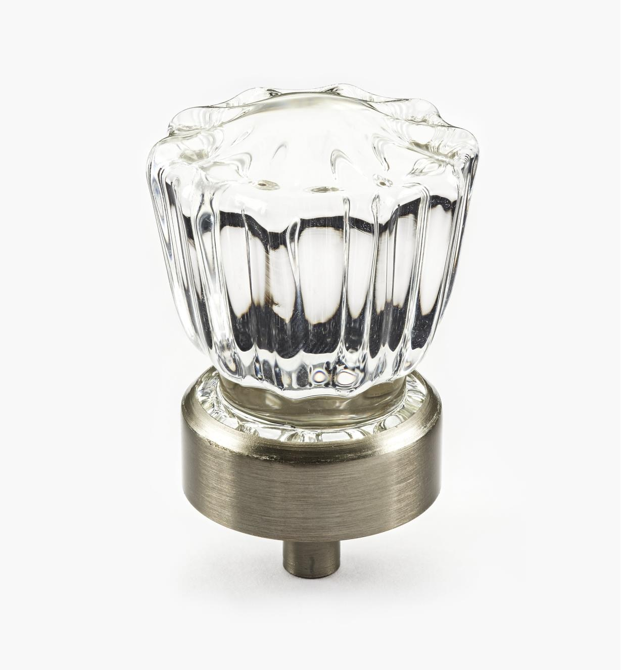 01A3822 - French-Style Glass Knob, Brushed Nickel