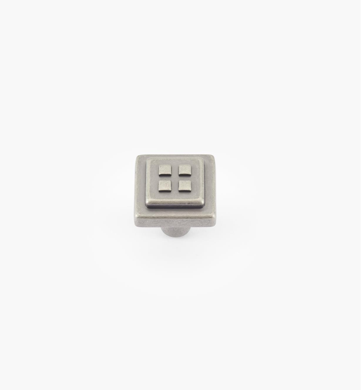 02A0962 - Bouton à carrés Forgings, fini nickel vieilli, 1 1/8 po x 1 1/8 po