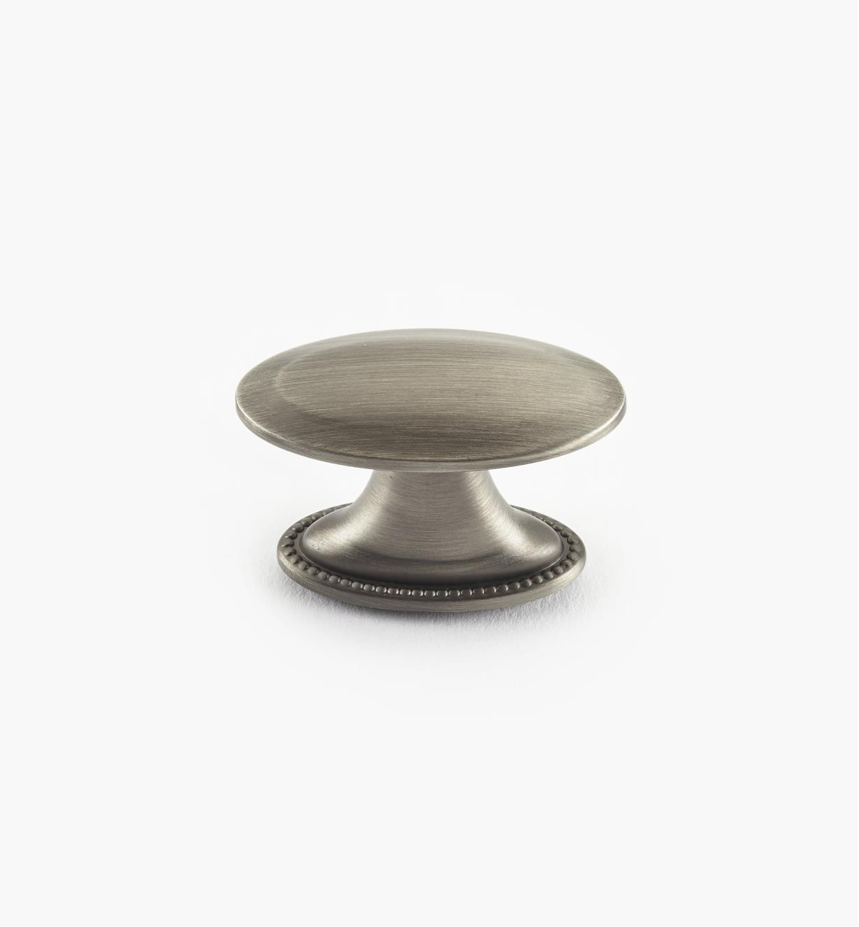 02A1561 - Bouton ovale Atherly, fini argent antique, 1 1/2 po x 3/4 po