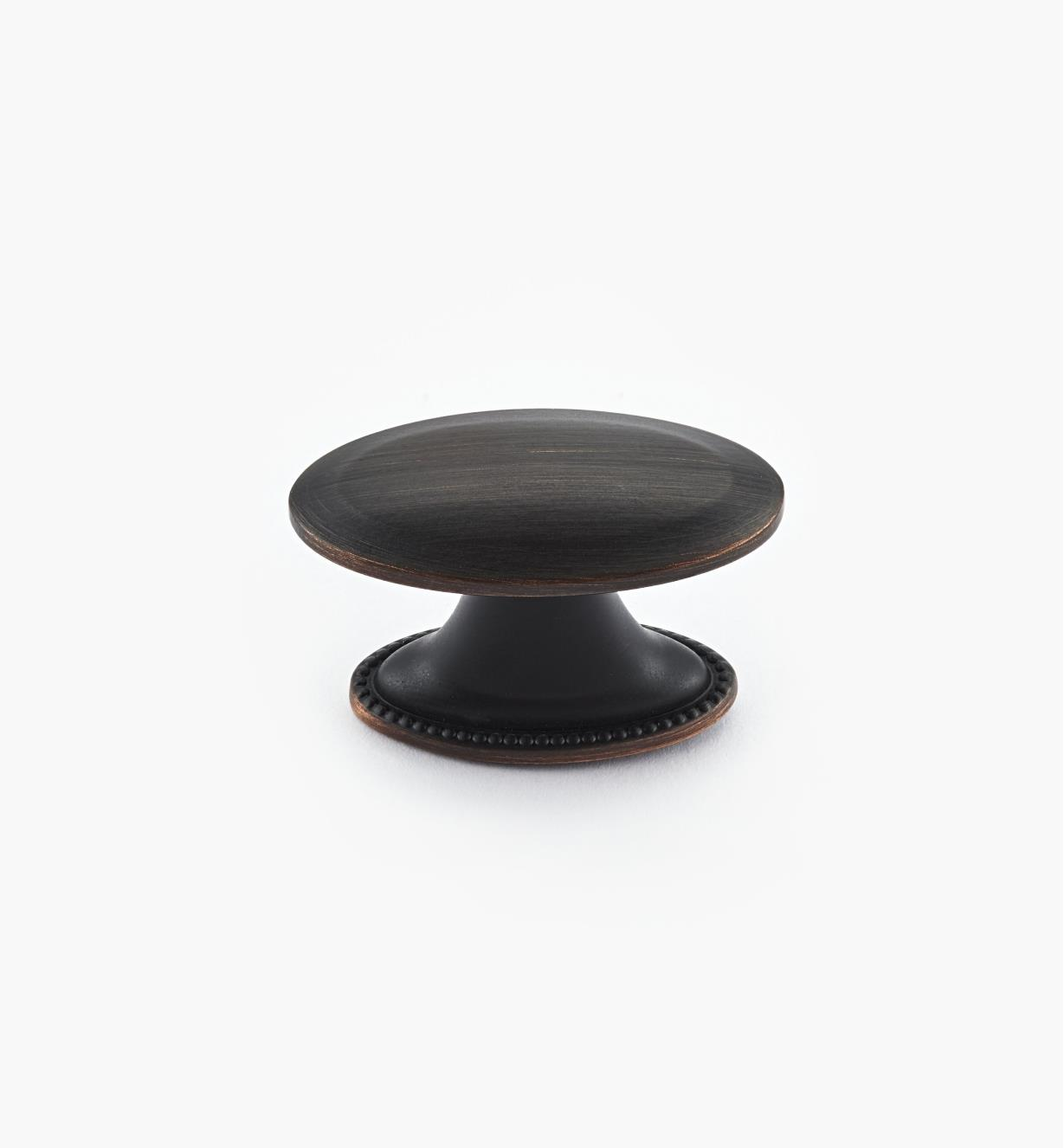"02A1571 - Atherly Hardware –Oil-Rubbed Bronze Oval Knob, 1 1/2"" x 3/4"""