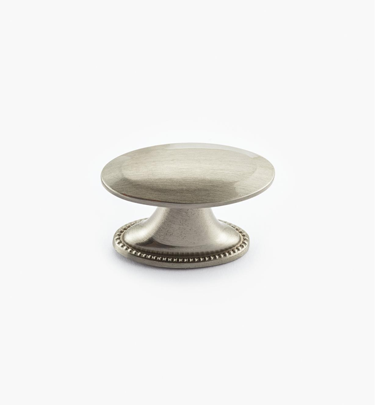 "02A1581 - Atherly Hardware –Satin Nickel Oval Knob, 1 1/2"" x 3/4"""