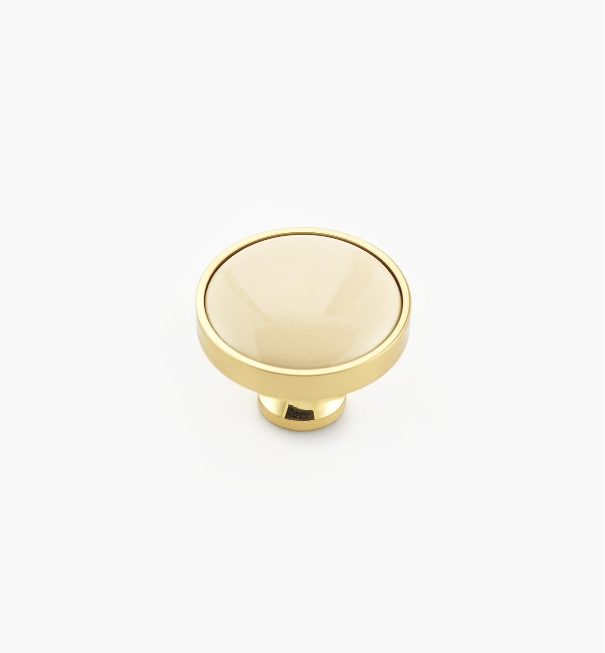 00W7625 - Polished Brass/Almond Knob