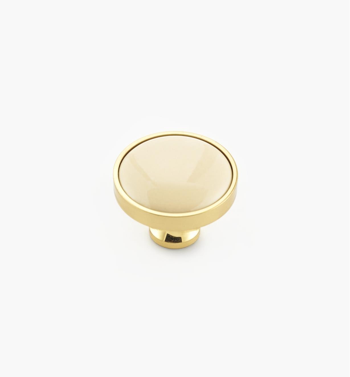 00W7625 - Bouton laiton-céramique, amande, 1 3/16 po x 15/16 po