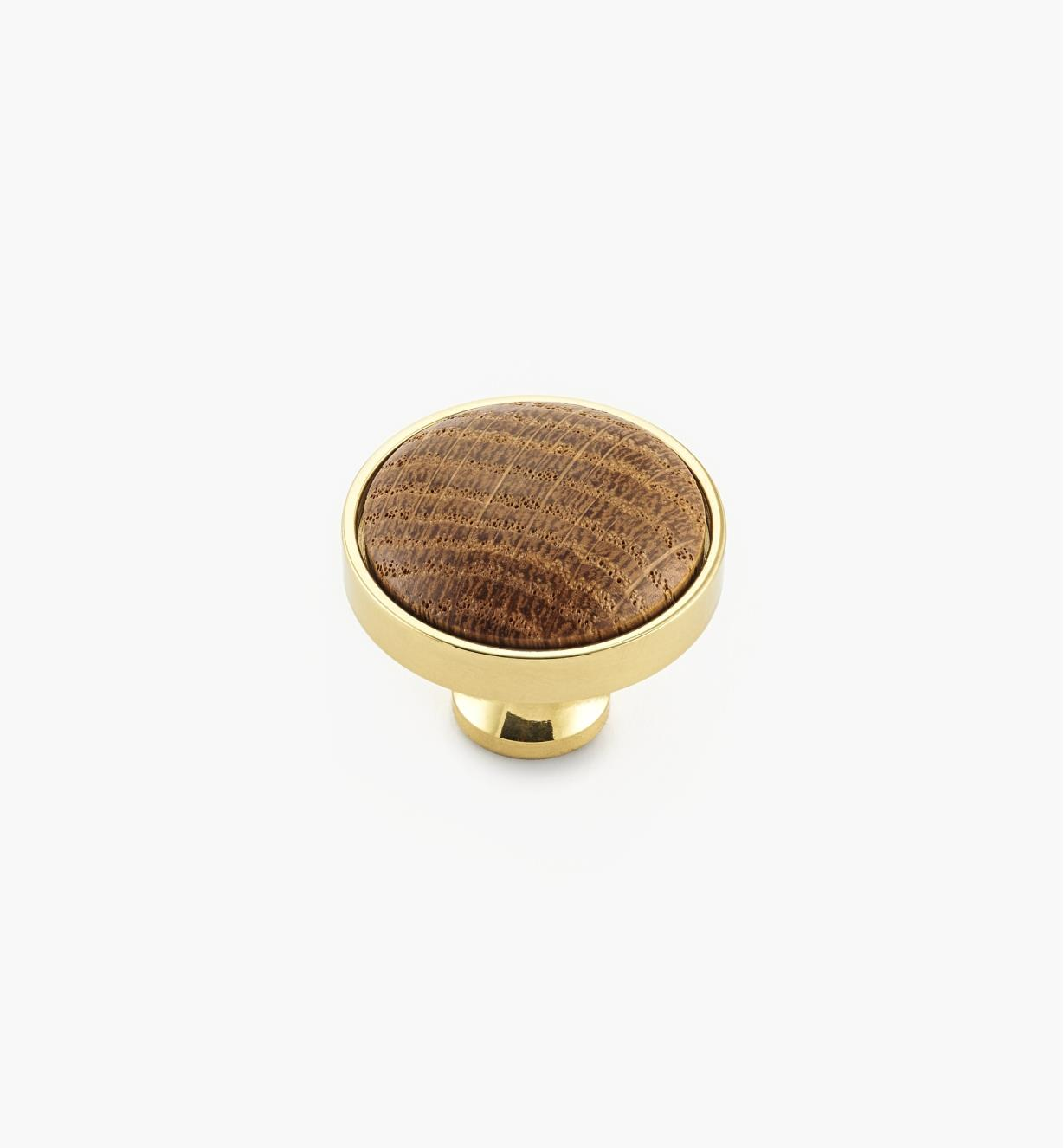00W7635 - Polished Brass/Oak Knob