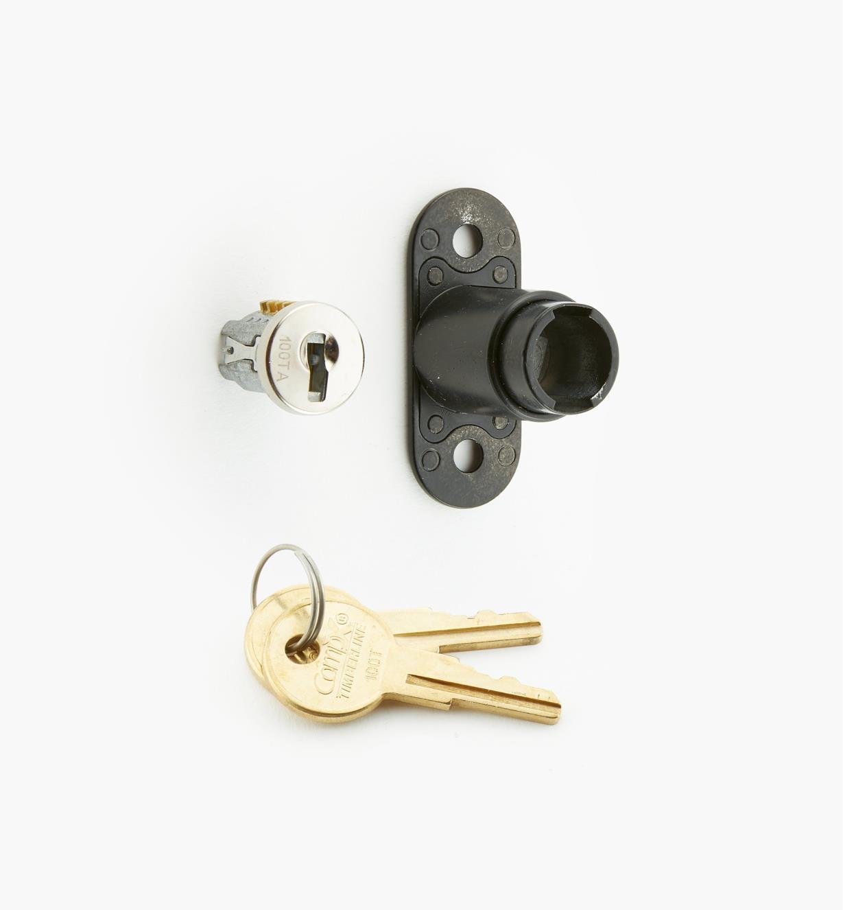 00F0641 - Sliding-Door Push Lock, Satin Nickel