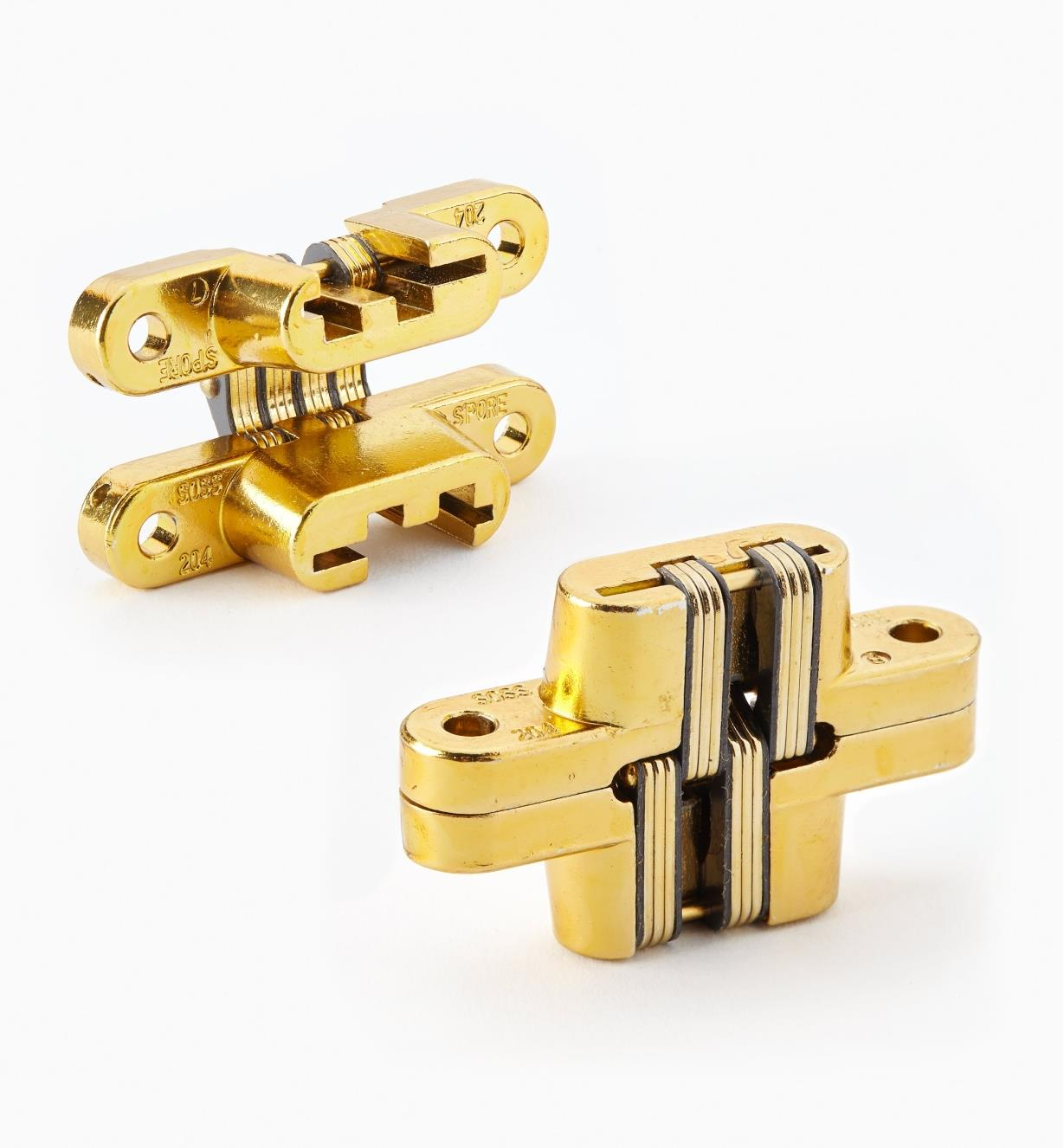 "00H0205 - 2 3/8"" Satin Brass SOSS  Invisible Hinges, pair"
