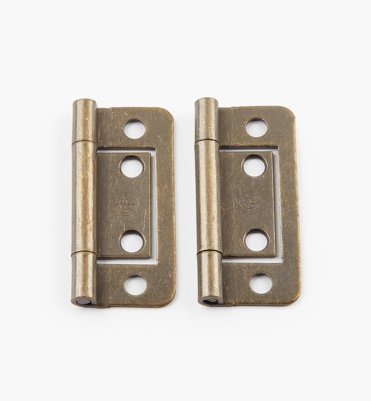"00H5102 - 2"" x  11/16"" Antique Brass Plain-End No-Mortise Hinges, pr."