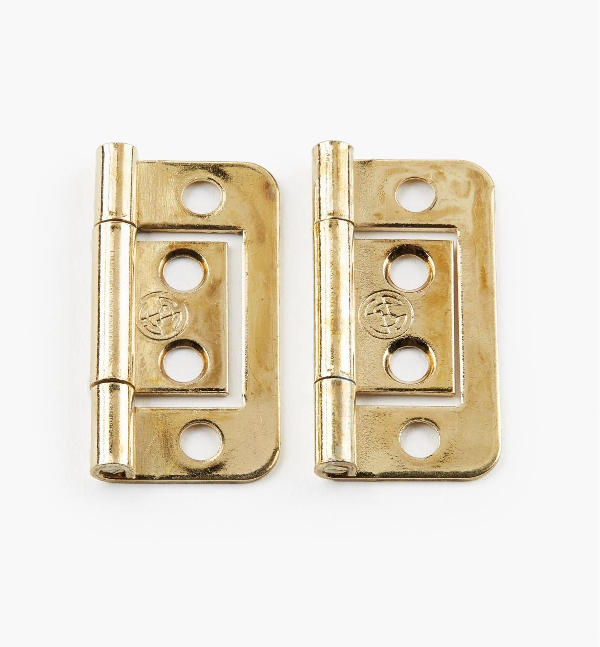 "00H5111 - 1 1/2"" x 5/8"" Brass Plate Plain-End No-Mortise Hinges, pr"