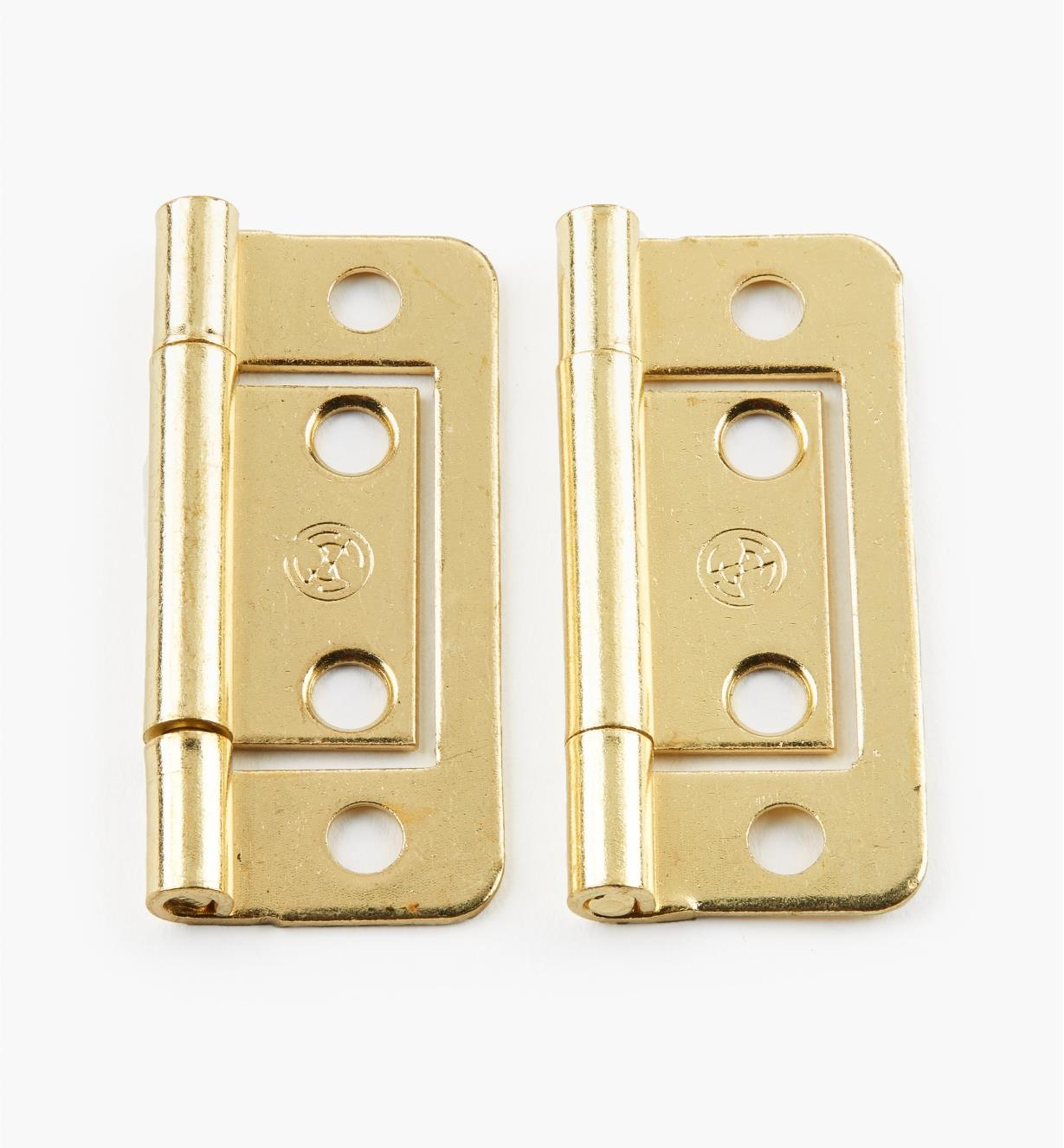 "00H5112 - 2"" x 11/16"" Brass Plate Plain-End No-Mortise Hinges, pr"