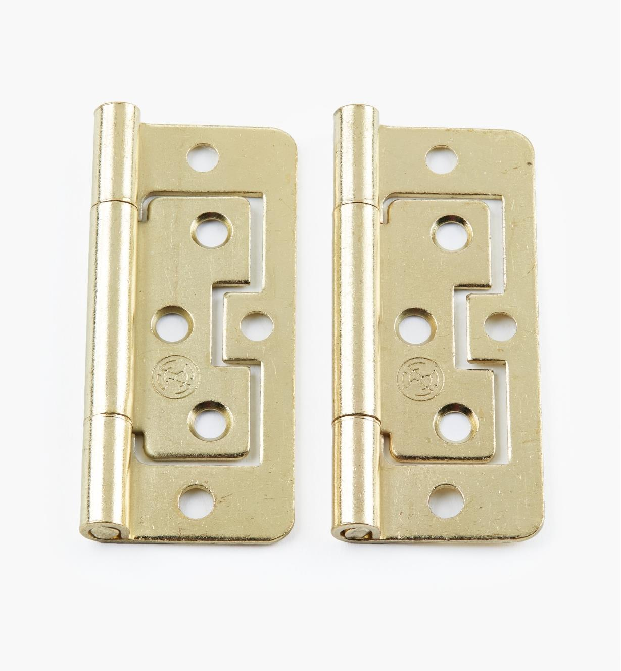 "00H5114 - 3"" x 1"" Brass Plate Plain-End No-Mortise Hinges, pr"