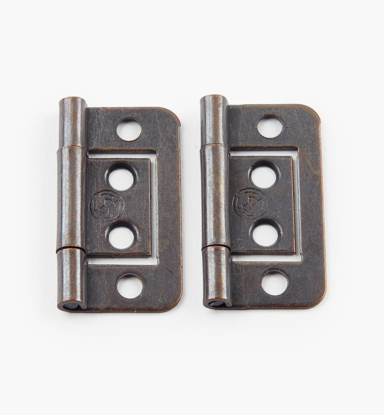 "00H5121 - 1 1/2"" x 5/8"" Bronze Plain-End No-Mortise Hinges, pr"