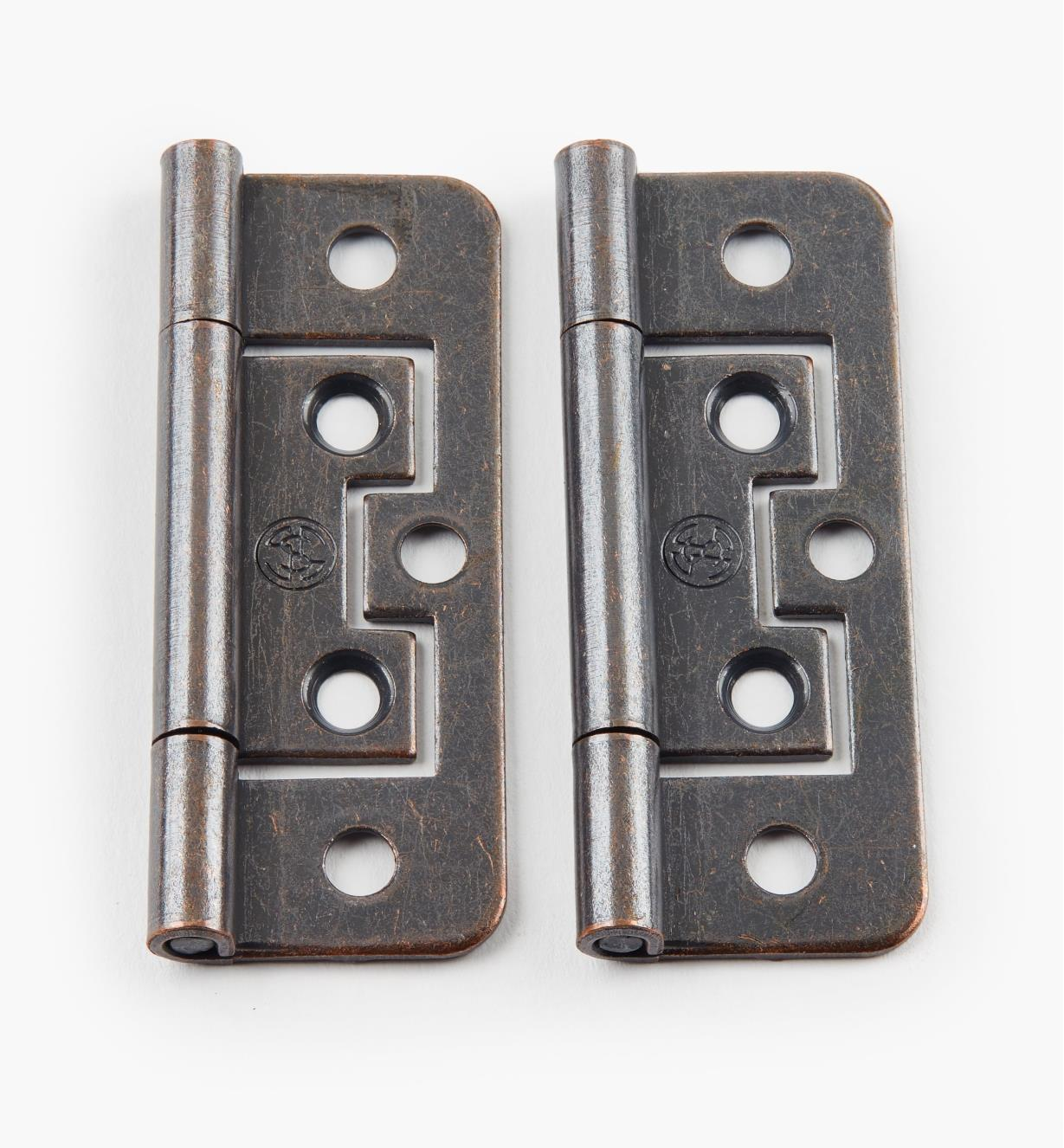 "00H5123 - 2 1/2"" x 3/4"" Bronze Plain-End No-Mortise Hinges, pr"