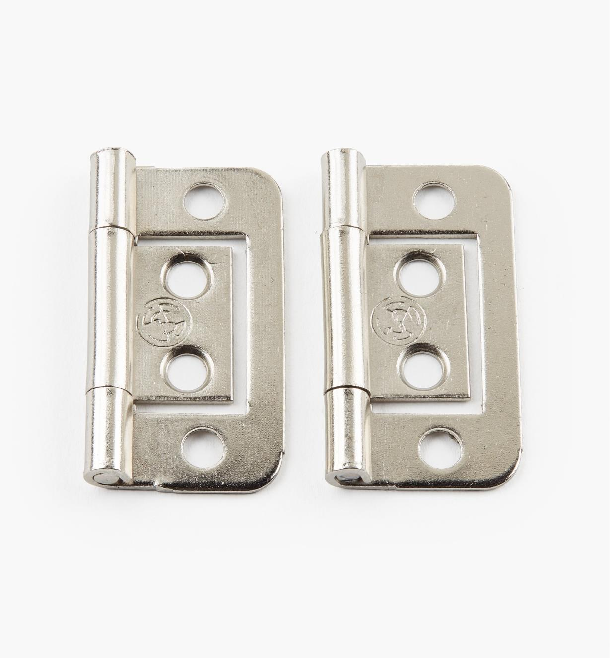 "00H5131 - 1 1/2"" x 5/8"" Nickel Plate Plain-End No-Mortise Hinges, pr"