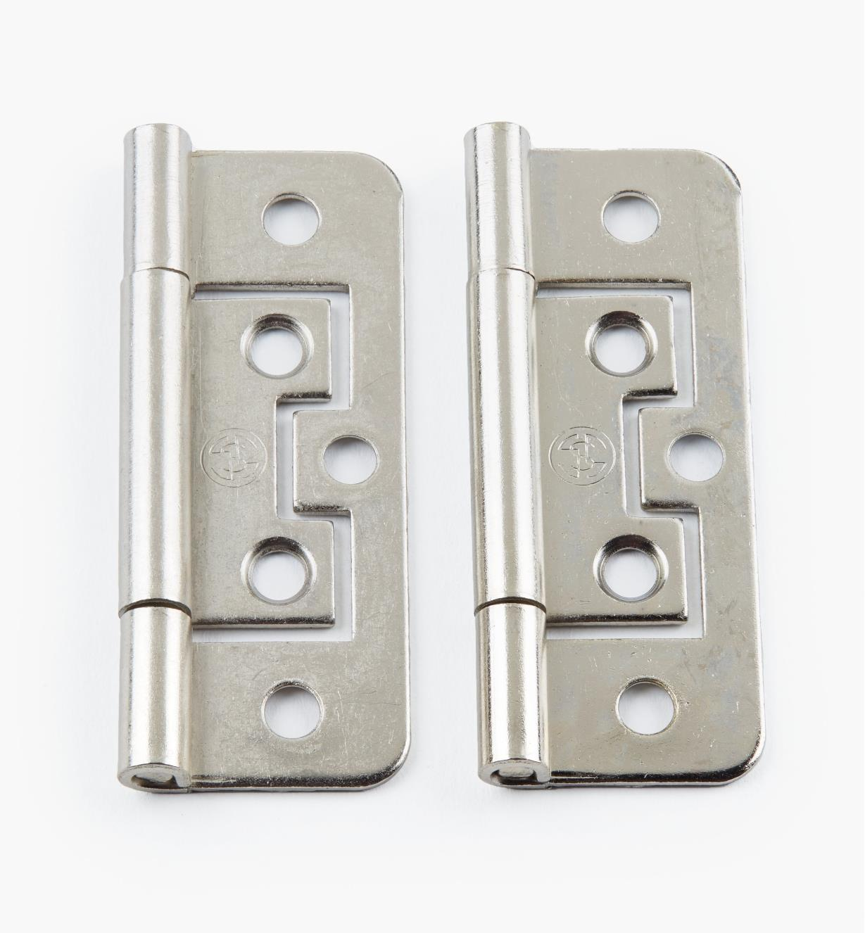 "00H5133 - 2 1/2"" x 3/4"" Nickel Plate Plain-End No-Mortise Hinges, pr"