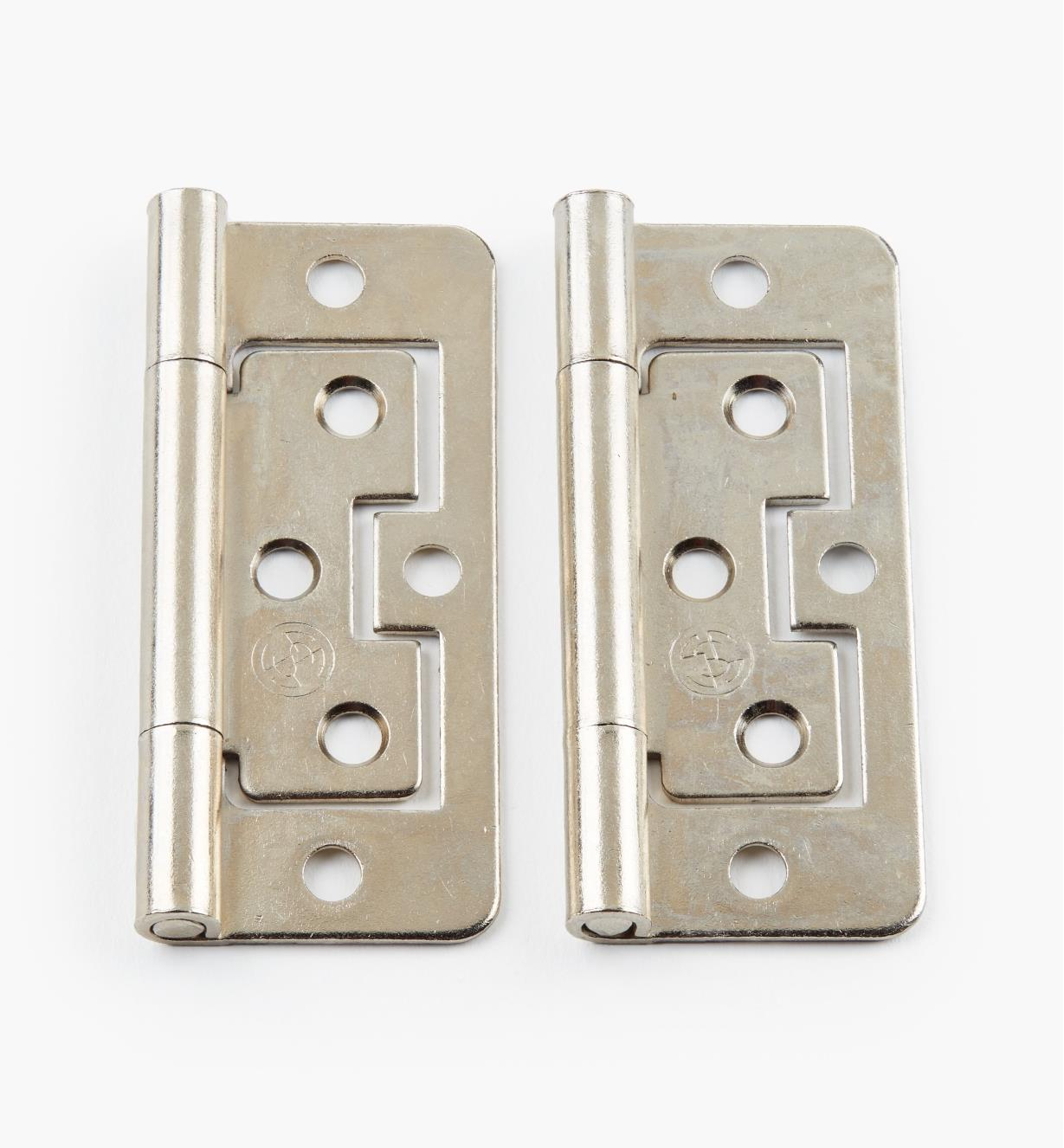 "00H5134 - 3"" x 1"" Nickel Plate Plain-End No-Mortise Hinges, pr"