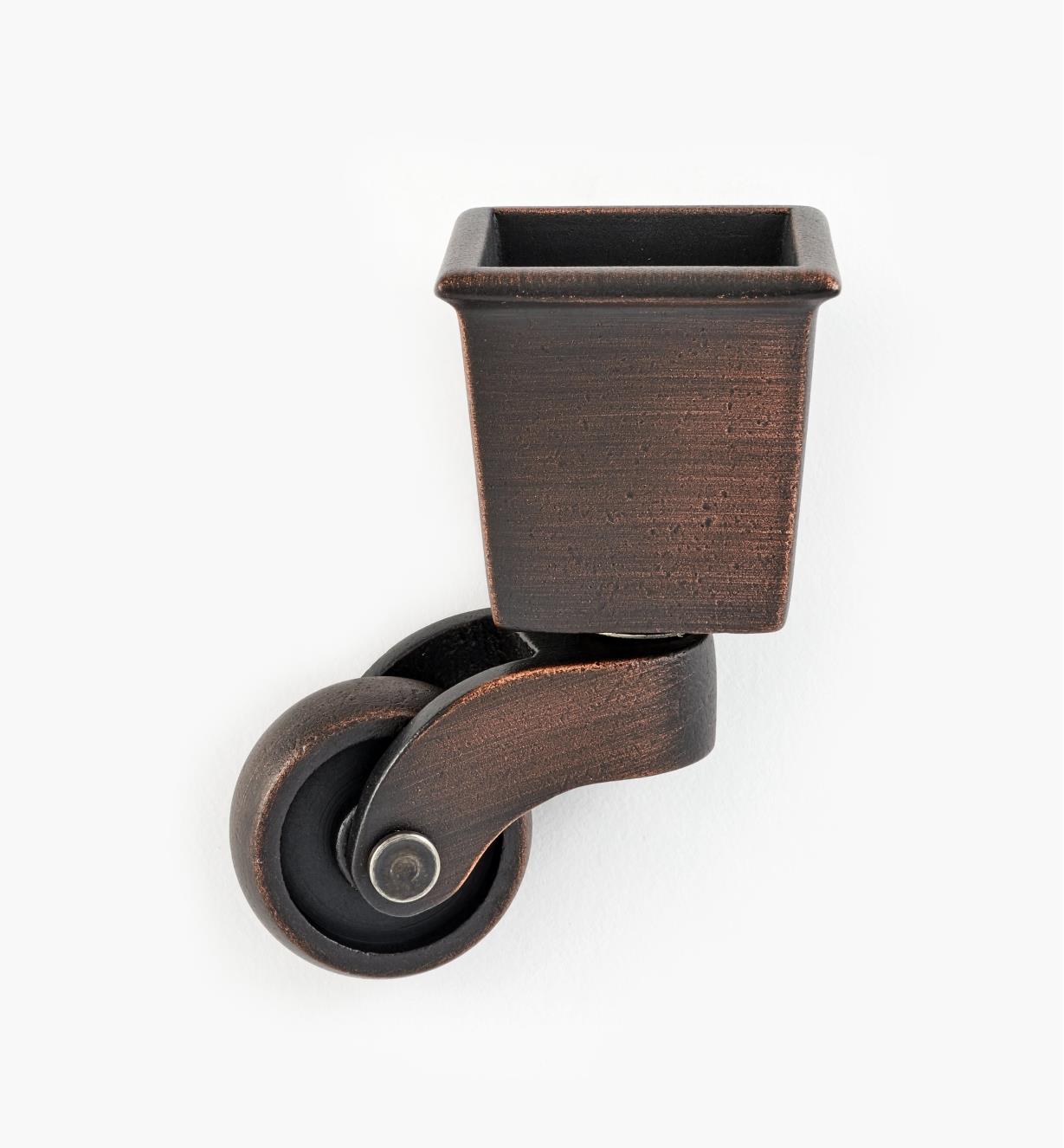 00W9863 - Roulette à sabot carré en laiton, vieux bronze, l'unité