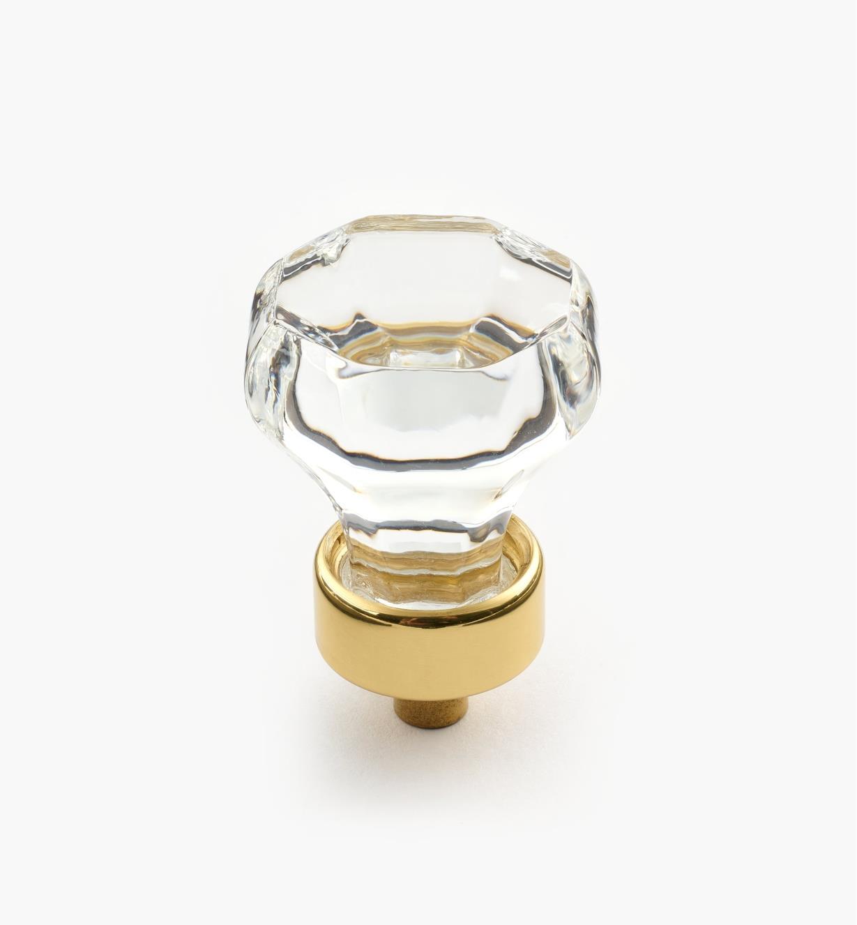 01W2510 - Crystal Knob/Brass