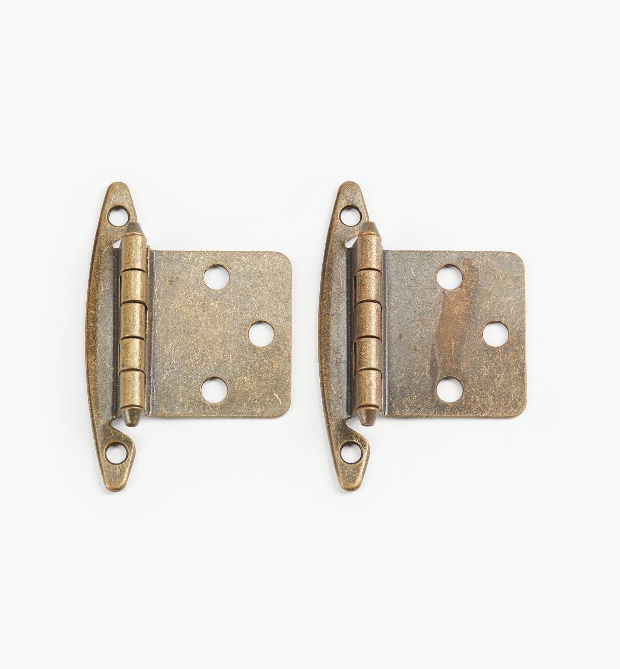 03W1218 - Belwith Standard Antique Brass Flush Hinges, 6 pairs
