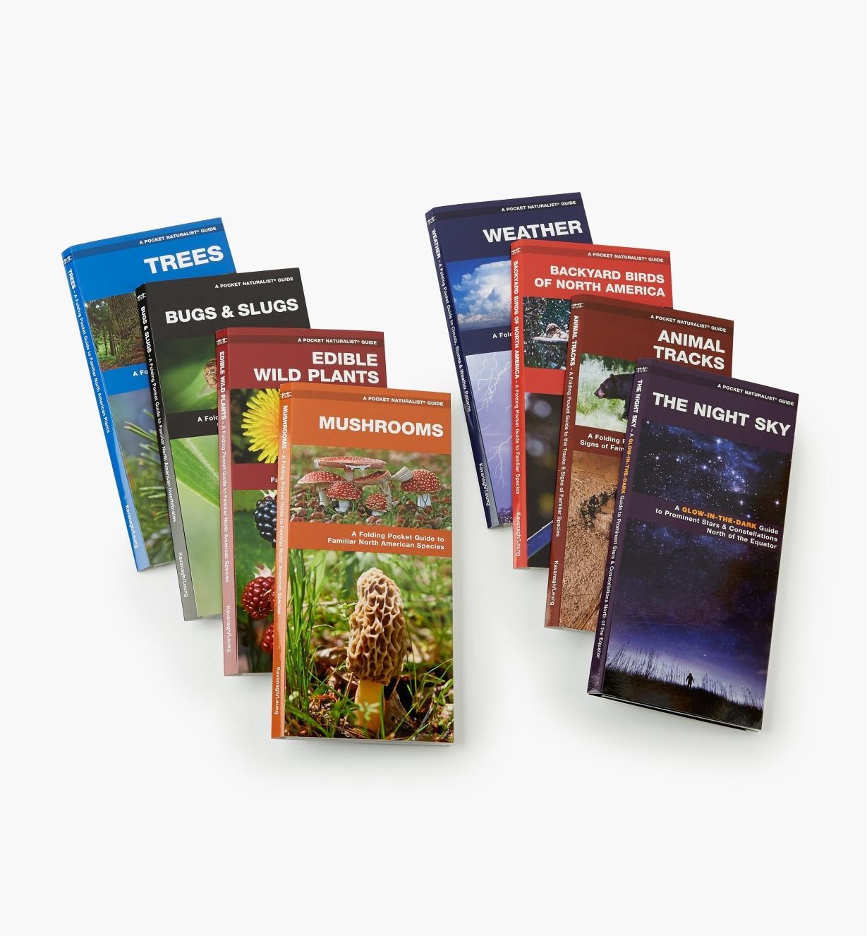 LA261 - Set of Eight Pocket Guides (Night Sky, Animal Tracks, Bkyd. Birds, Weather, Mushrooms, Edible Wild Plants, Bugs & Slugs, Trees)
