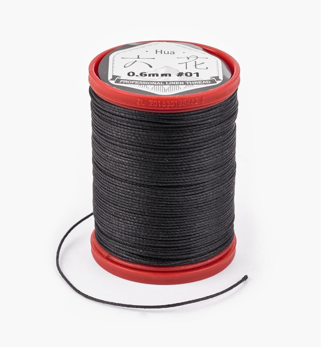 97K0911 - 0.6mm Black Waxed Linen Thread