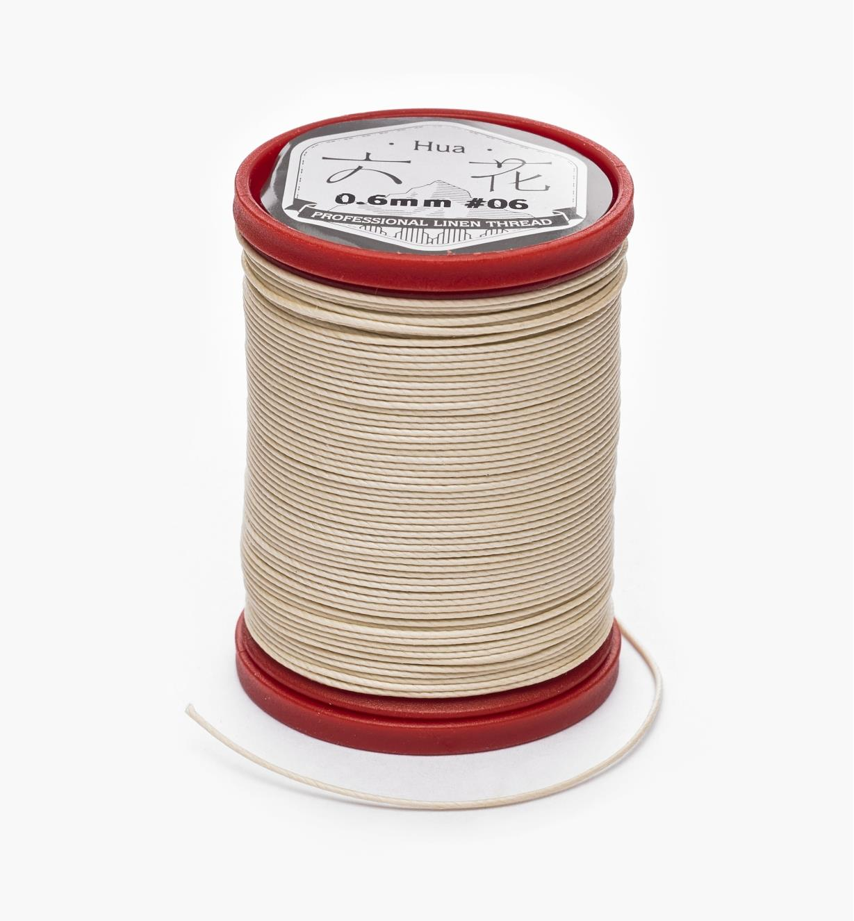 97K0912 - 0.6mm Cream Waxed Linen Thread