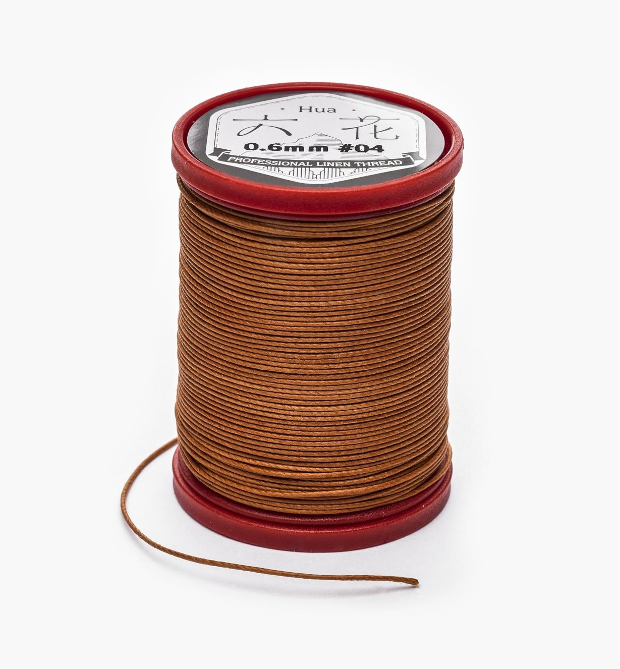 97K0913 - 0.6mm Brown Waxed Linen Thread
