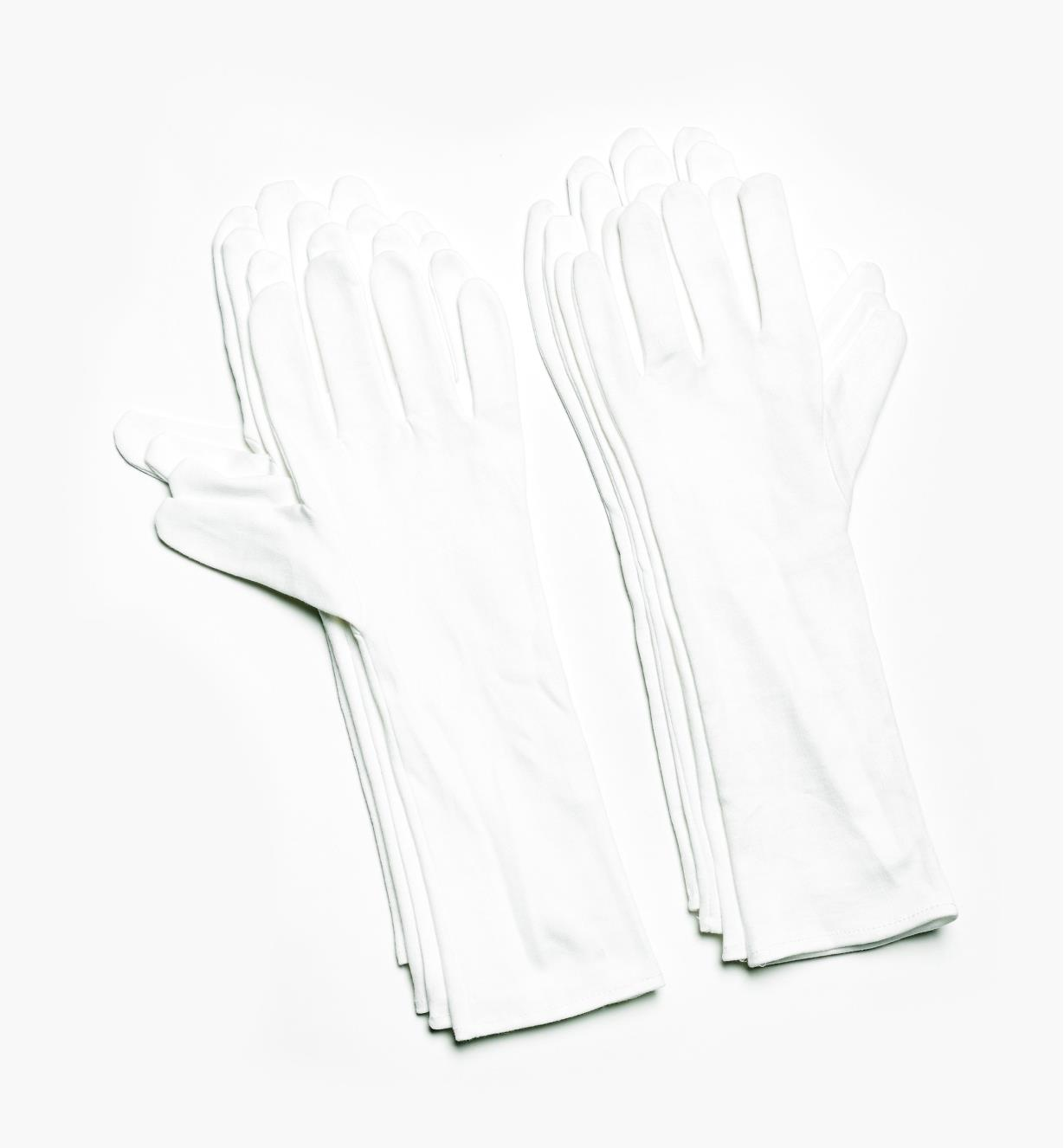 09A2057 - Small Extra-Long Cotton Glove Liners (size 7), pkg. of 8