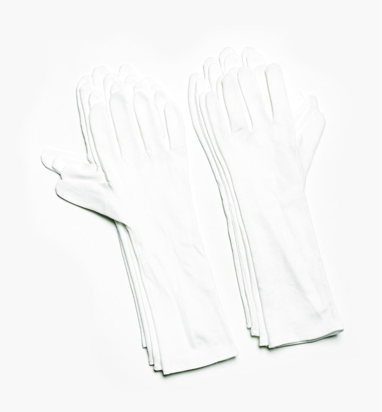09A2059 - Large Extra-Long Cotton Glove Liners (size 9), pkg. of 8