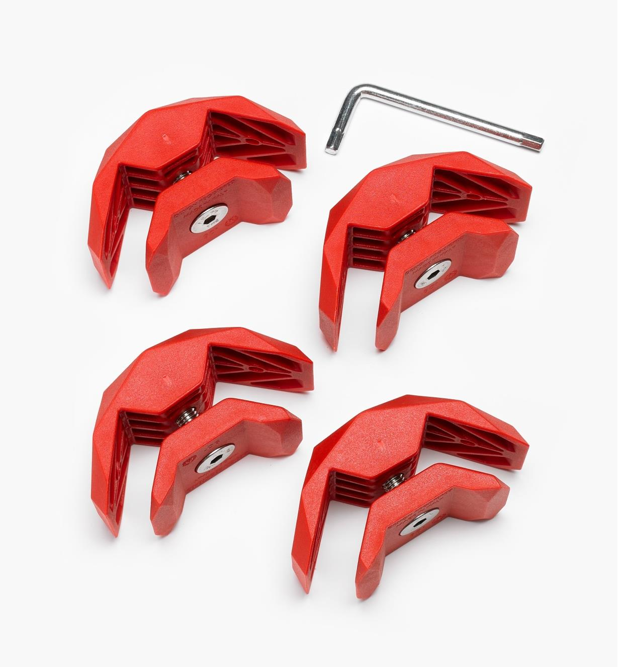 01S1980 - 90° Red Playwood Connectors, pkg. of 4