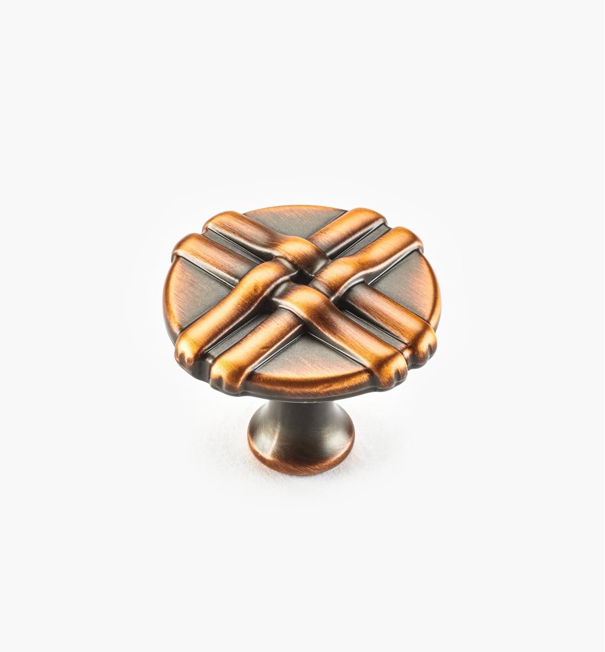 01W0632 - Bouton rubané de 34 mm, fini cuivre antique brossé