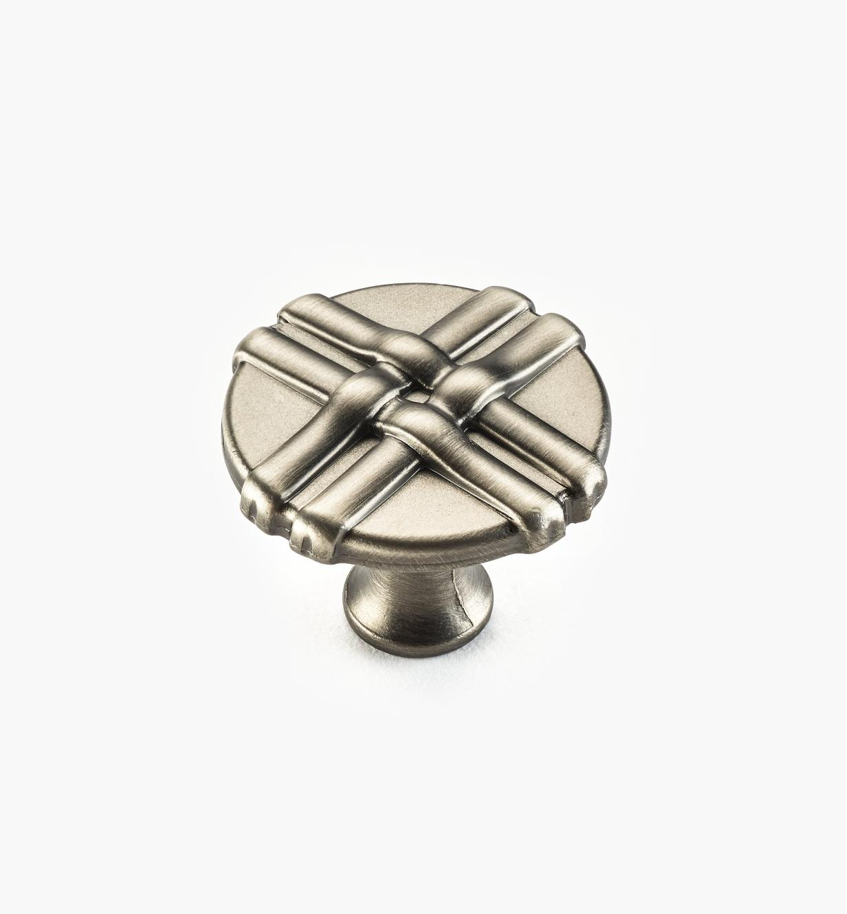 01W0634 - 34mm Brushed Antique Pewter Ribbon Knob