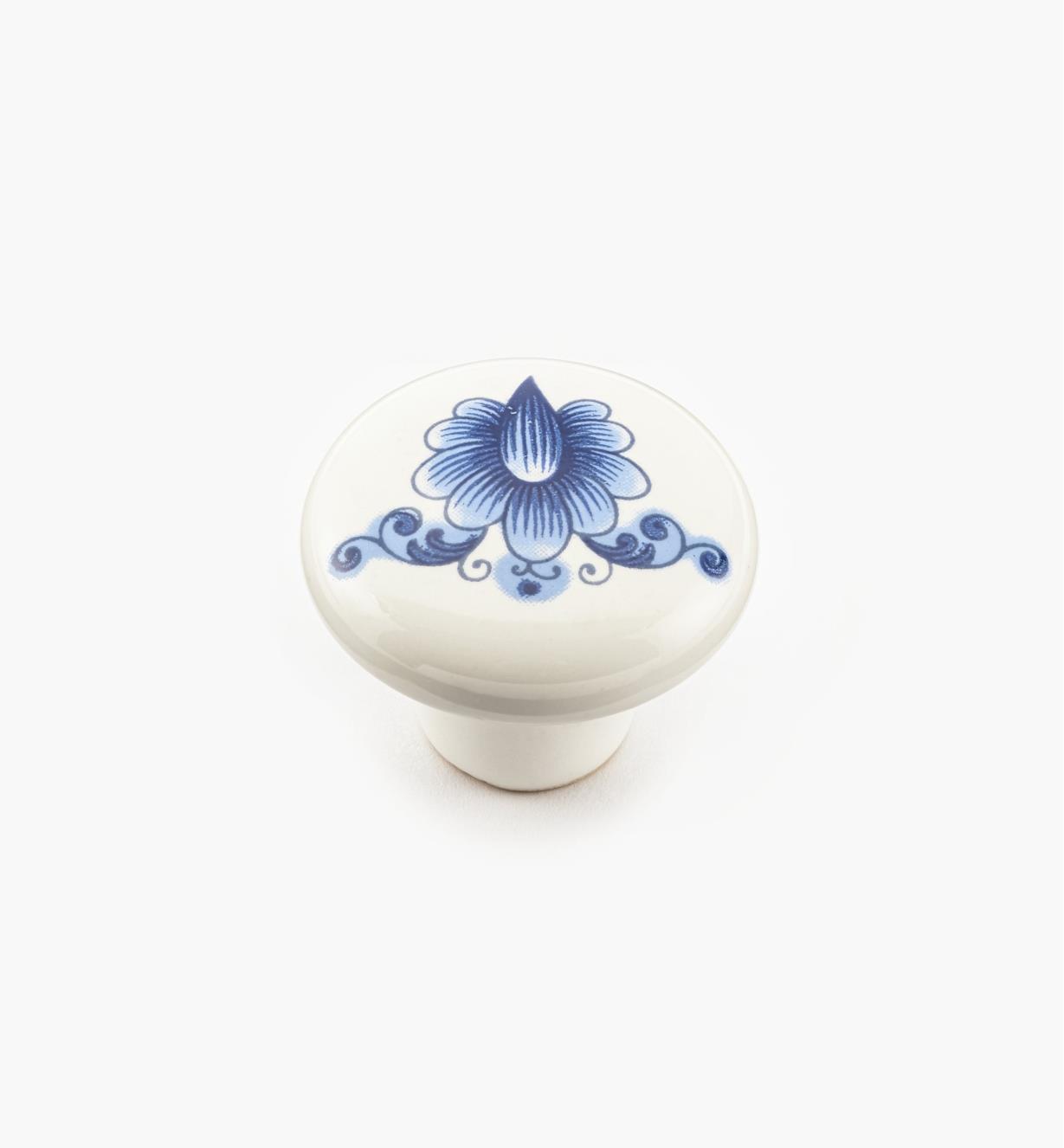 """00W7103 - 1 1/4"""" x  7/8"""" Blue Ceramic Knob"""