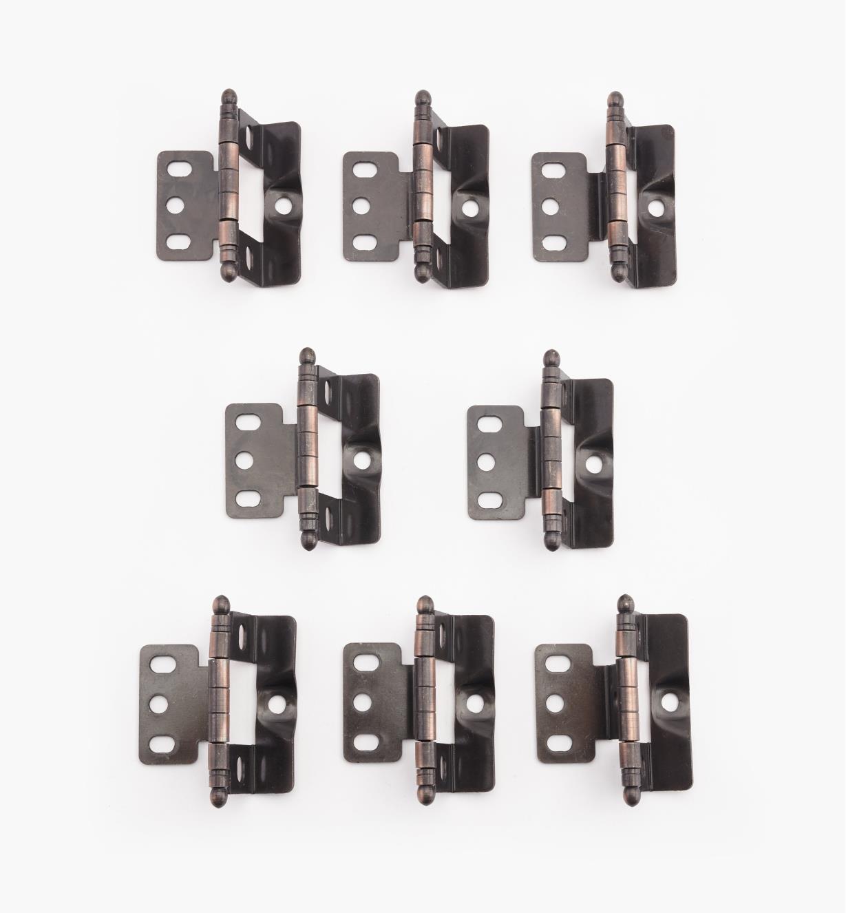 01H3094 - Charnières pour porte encastrée, meuble à cadre, embouts ronds, bronze huilé, lelotde8